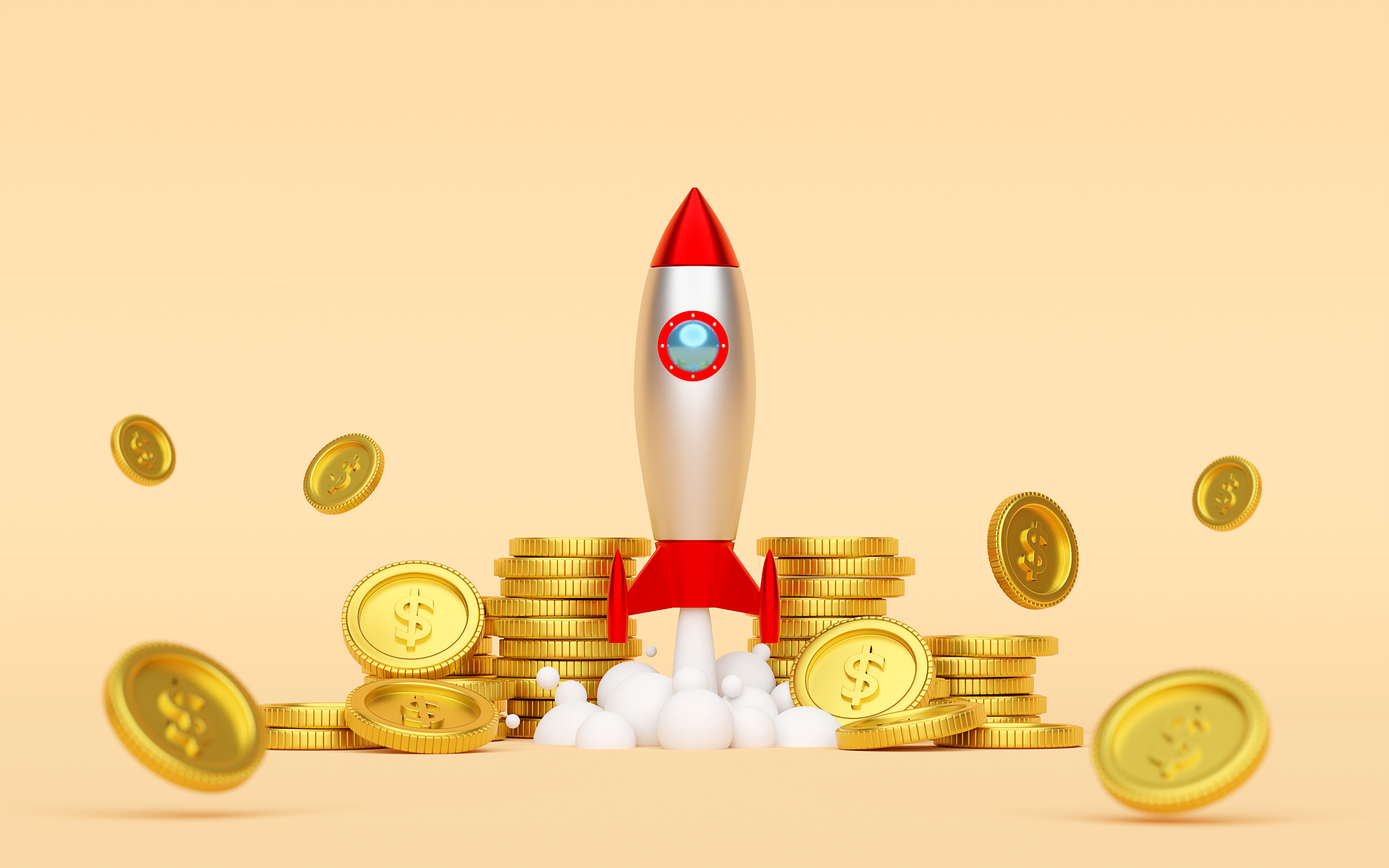 Rocket launching from ground with coins