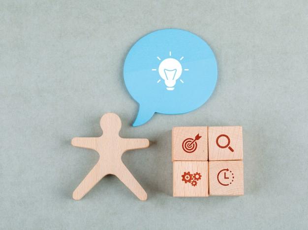 Business idea concept wooden blocks